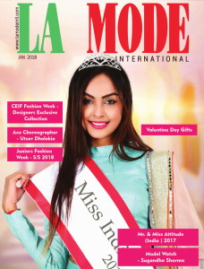 Sugandha Sharma on Cover of La Mode International Jan 2018 issue.